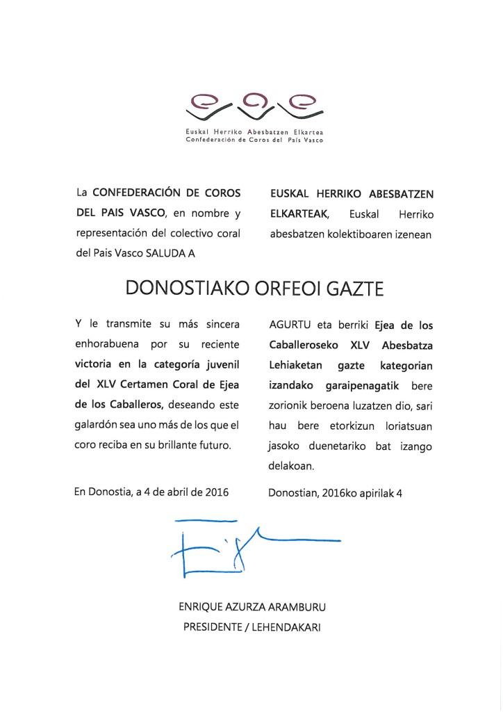 Felicitación Orfeoi Gazte