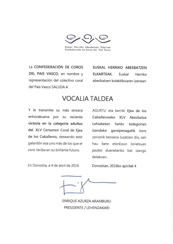 Felicitación Vocalia Taldea